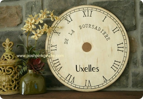 pottery barn inspired clockface from old tabletop