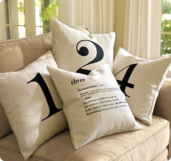 pottery barn number pillows