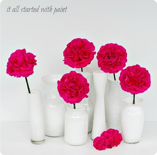 West Elm Knock Off Ceramic Vases - Make dollar store vases look like ceramic using cheap acrylic paint!