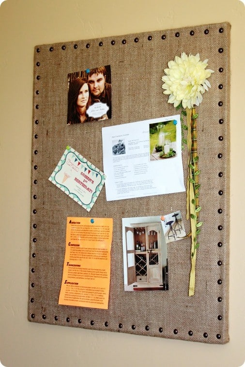 DIY burlap message board - Ballard Designs inspired