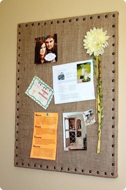 DIY burlap message board - Ballard Designs inspired
