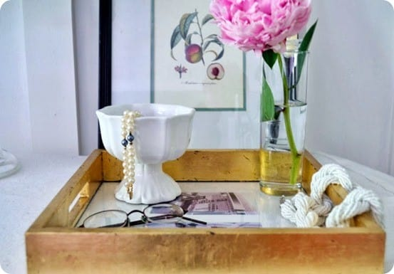 DIY gold leaf tray from goodwill tray - a West Elm knock off