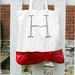 DIY initial tote bag with plasti dip bottom inspired by West Elm