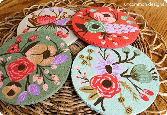 Paint your own botanical cork coasters
