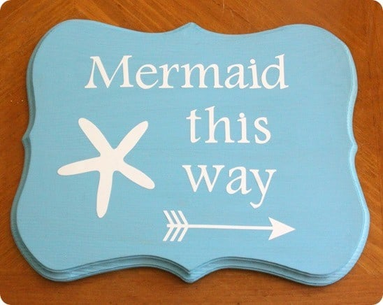 Pottery Barn Kids inspired wood mermaid sign