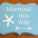 Wood Mermaid Sign