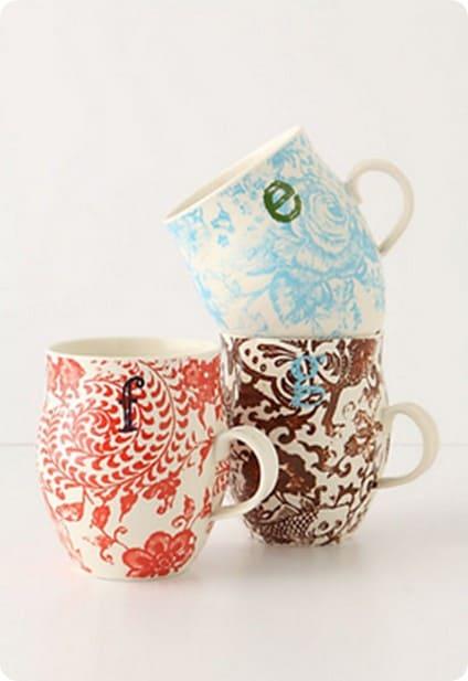 anthro homegrown monogram mug