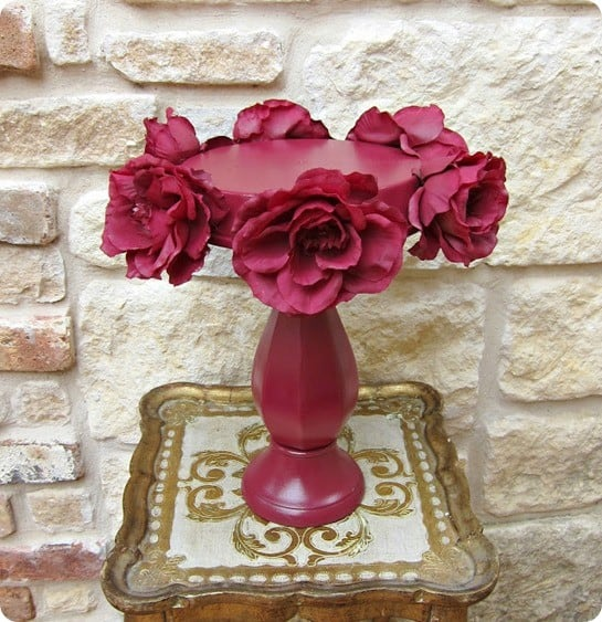diy cake stand made from thrift store materials