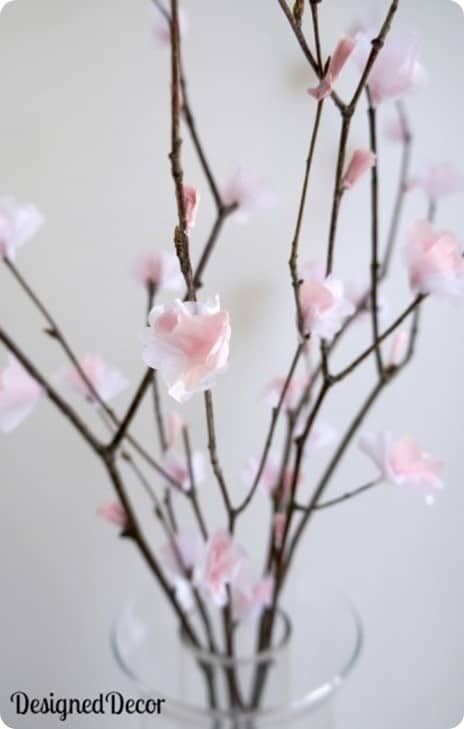 diy cherry blossom flowers from tissue paper