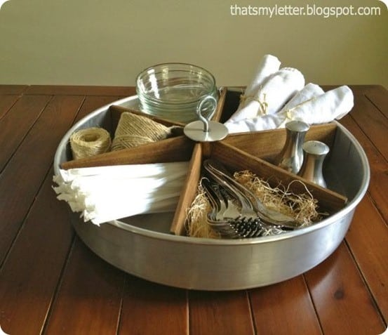 make your own Pottery Barn inspired metal and wood Lazy Susan