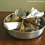 Divided Wood and Metal Lazy Susan