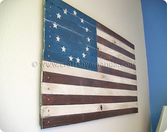 painted wood american flag
