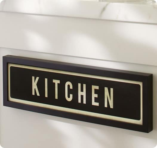 pottery barn framed kitchen sign