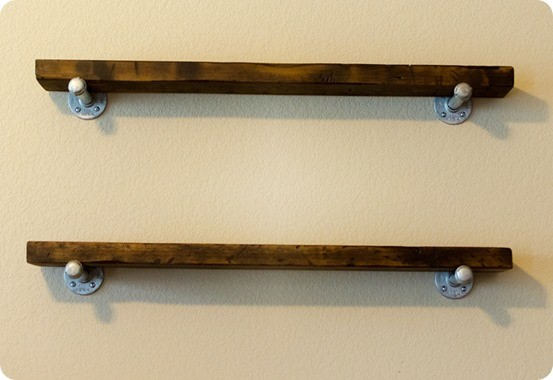 rh inspired wood and metal wall shelves