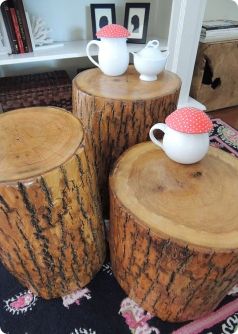 Tree stump tables for Stump furniture making