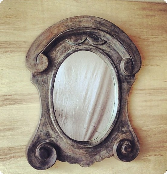 wood scroll mirror