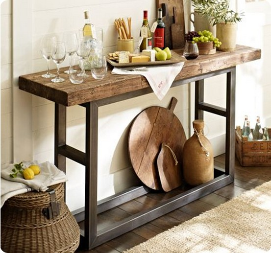 Griffin reclaimed wood and wrought iron console table from Pottery Barn