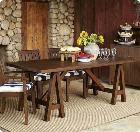 chatham rectangluar sawhorse dining table