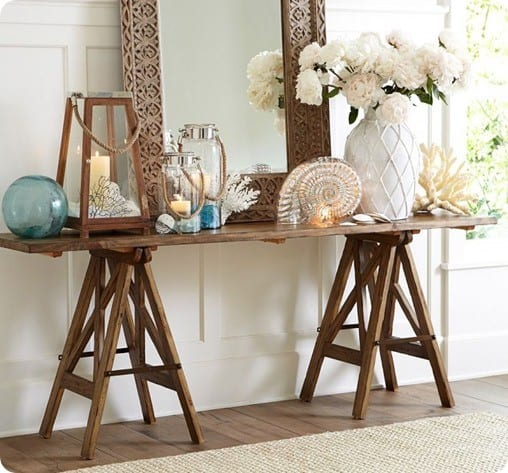 Console Table Pottery Barn: Easy Sawhorse Console Table For $20