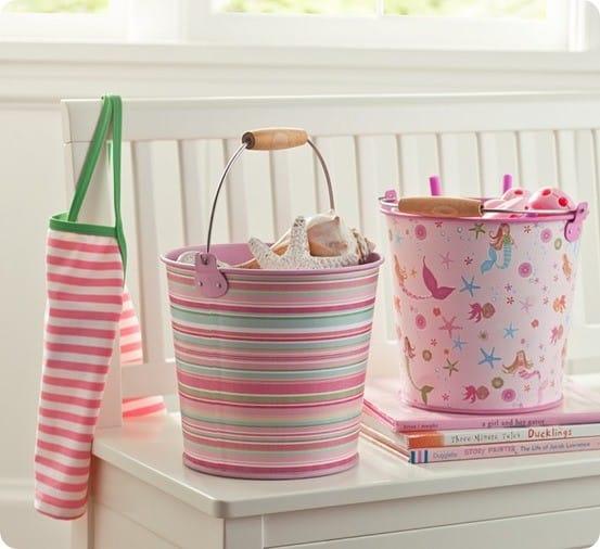 summer buckets from Pottery Barn
