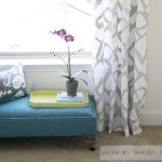 Blue Upholstered Bench with Casters