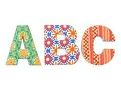 Flares and Fountains Fabric Letters