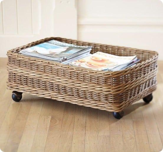 underbed rolling magazine basket. Black Bedroom Furniture Sets. Home Design Ideas