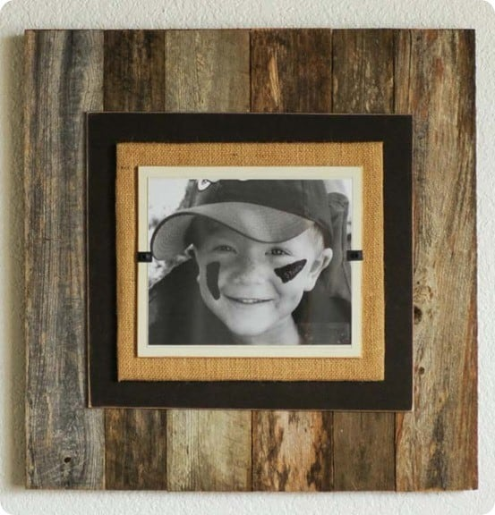 Burlap And Pallet Wood Picture Frame