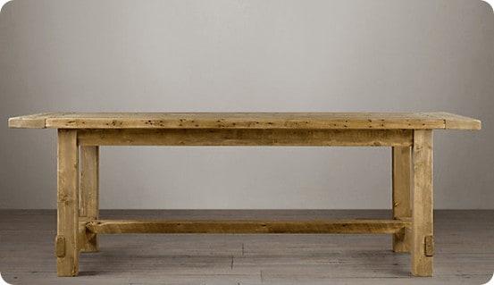 Salvaged wood farmhouse table