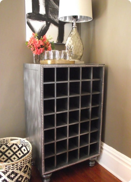 faux zinc wine cabinet