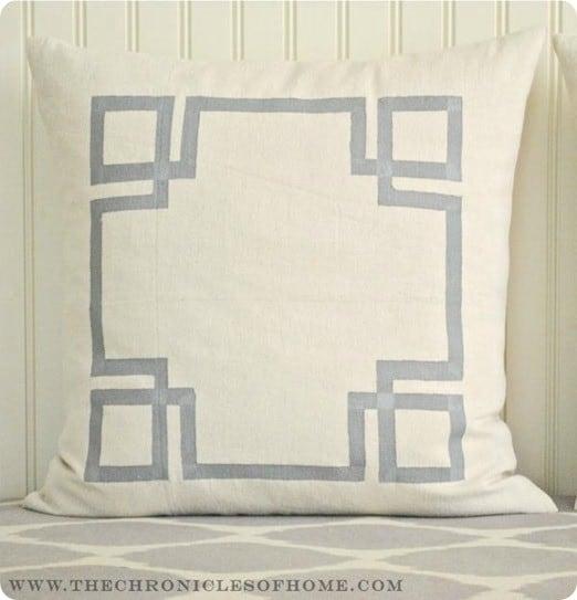 painted greek key pillow
