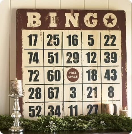 pottery barn bingo sign