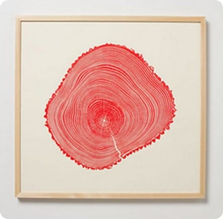 red fraxinus woodcut print