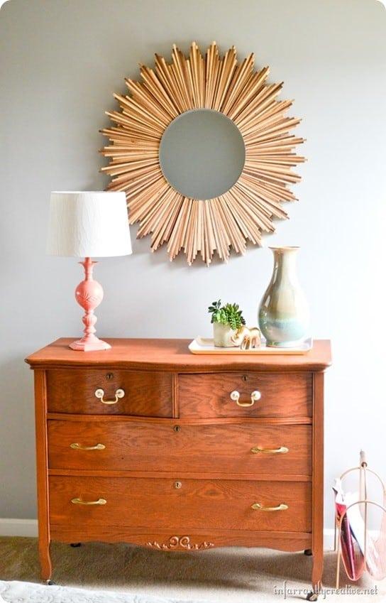 wood sunburst mirror