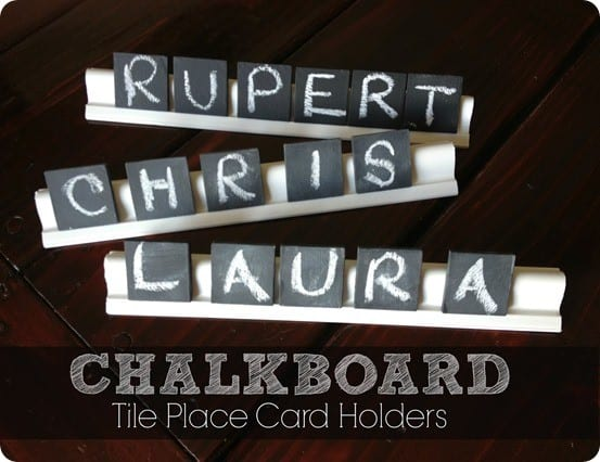 DIY Chalkboard Tile Place Card Holders