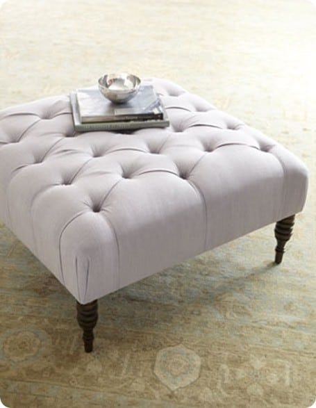 wood coffee table to tufted ottoman. Black Bedroom Furniture Sets. Home Design Ideas