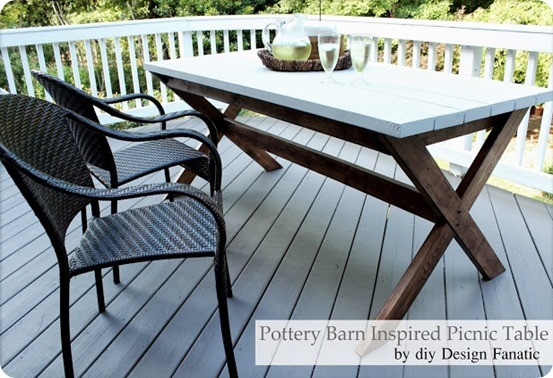 Pottery Barn inspired picnic table