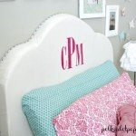Upholstered Headboard with Monogram for a Girl's Room