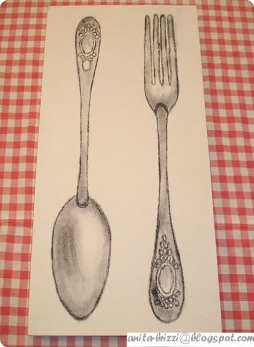 fork and spoon canvas