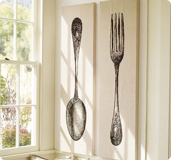 fork and spoon stretched canvas