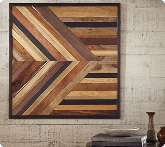 pieced wood and metal square