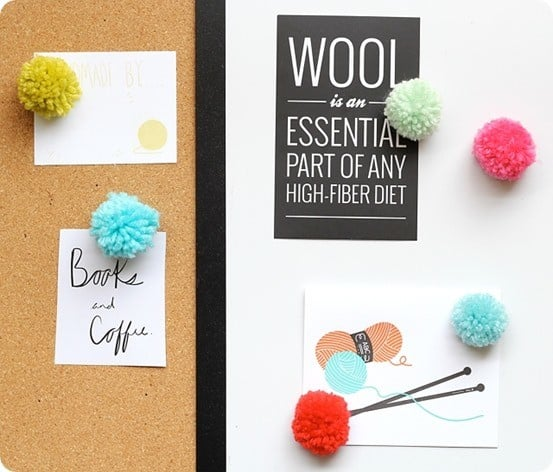 pom pom magnets and pushpins