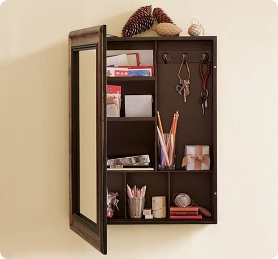 Rescued medicine cabinet to message center - Bathroom mirror with hidden storage ...