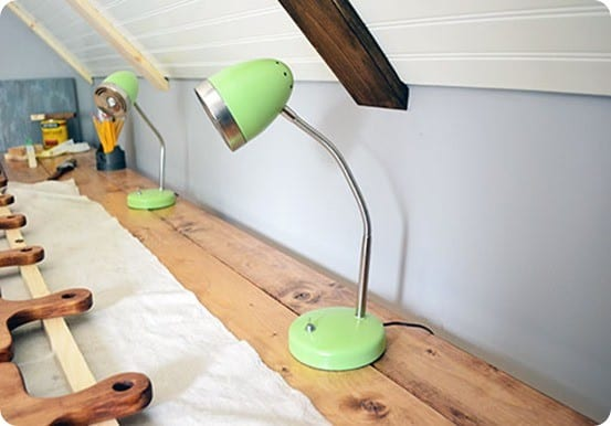 spray painted task lamps