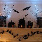 Spooky Black Halloween Mantel