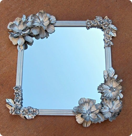 Paint Silk Flowers For A Pretty Mirror