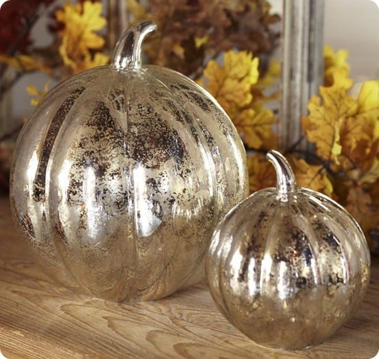 faux mercury glass pumpkin jars. Black Bedroom Furniture Sets. Home Design Ideas