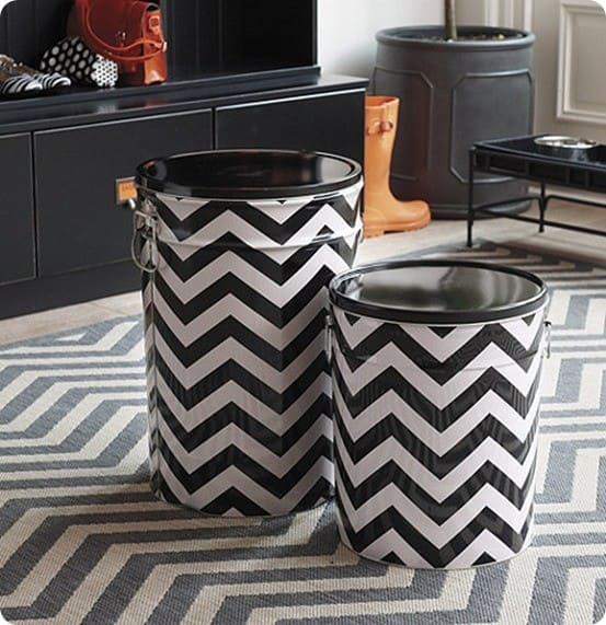 chevron stripe pet food container