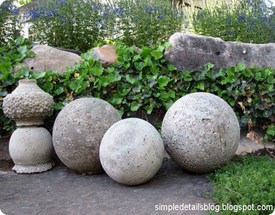 Classic concrete garden spheres for Sphere garden design