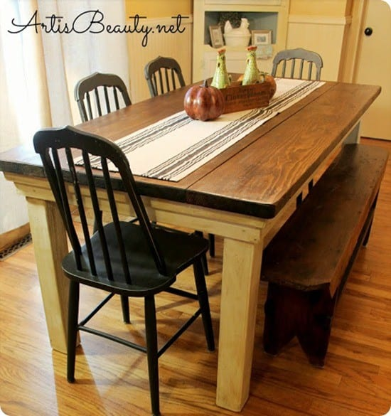 Dining table farmhouse dining table diy Diy farmhouse table